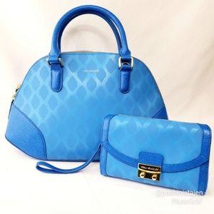 🆕NWT Vera Bradley Blue Ikat Bowler Bag & Wristlet